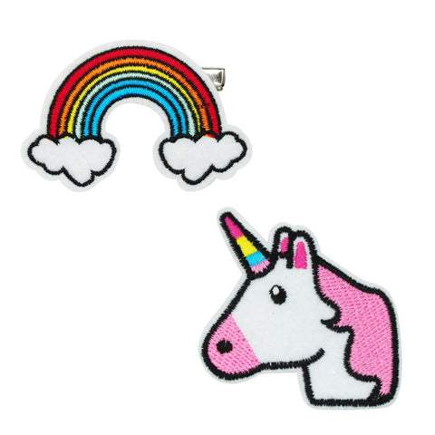 Rainbow and Unicorn Patch Hairclips