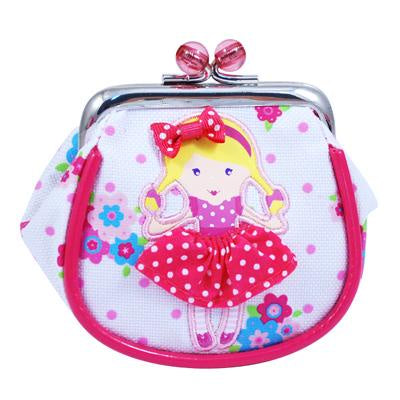 Polka Dot doll clip coin purse white