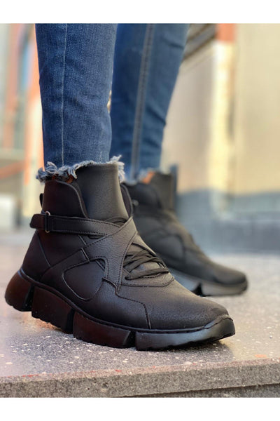 High Sole Men's Sport Boots - Full Black - MensFashionsWorld