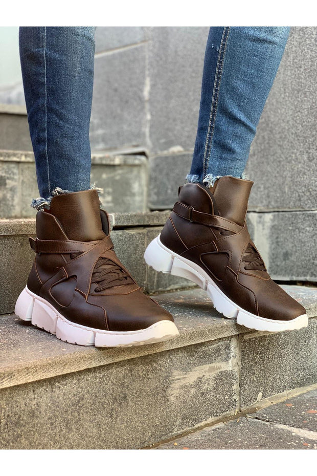 High Sole Men's Sport Boots - Brown - MensFashionsWorld