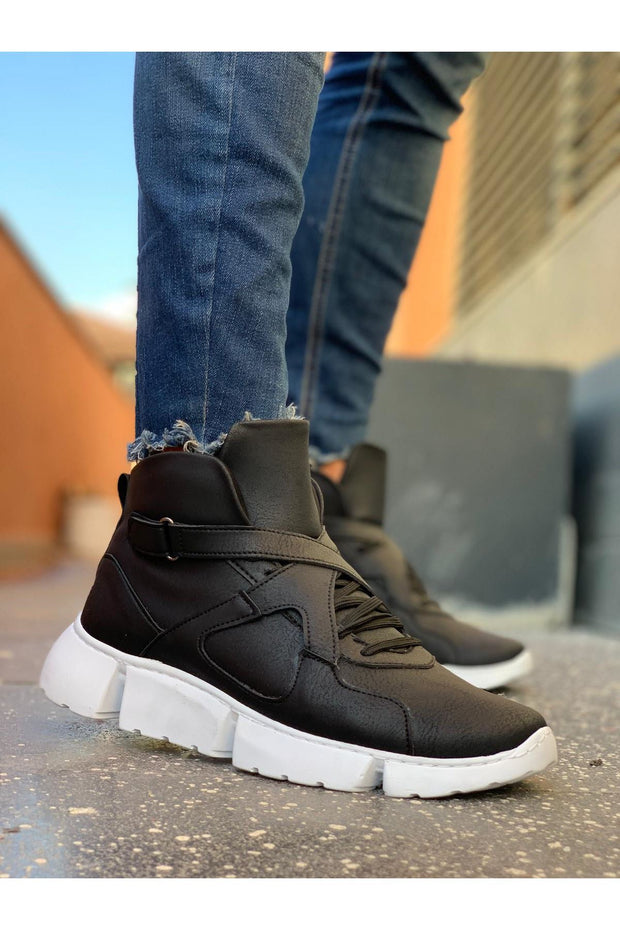 High Sole Men's Sport Boots -Black - MensFashionsWorld