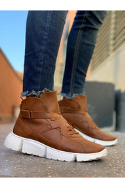 High Sole Men's Sport Boots - Tan - MensFashionsWorld