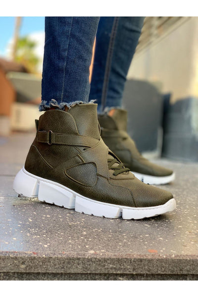 High Sole Men's Sport Boots - Khaki - MensFashionsWorld