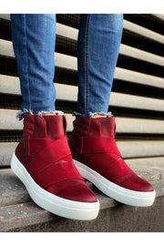 Men's Lace Up Design Sneaker Boots - Red - MensFashionsWorld