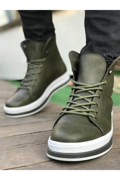 Men's High Sole Boots - Khaki - MensFashionsWorld