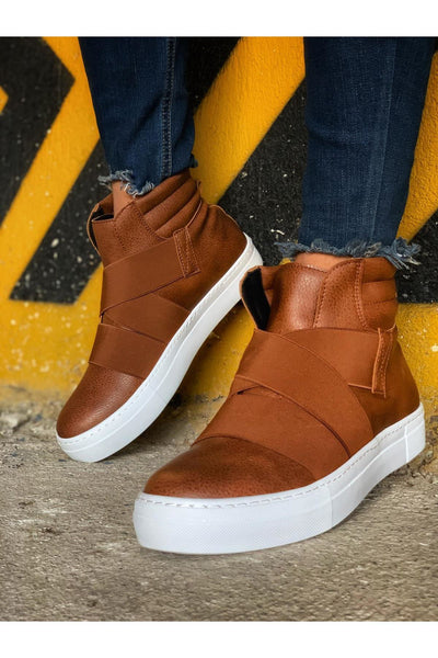 Men's Lace Up Design Sneaker Boots - Tan - MensFashionsWorld