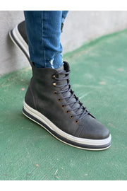 Men's High Sole Boots - Grey - MensFashionsWorld