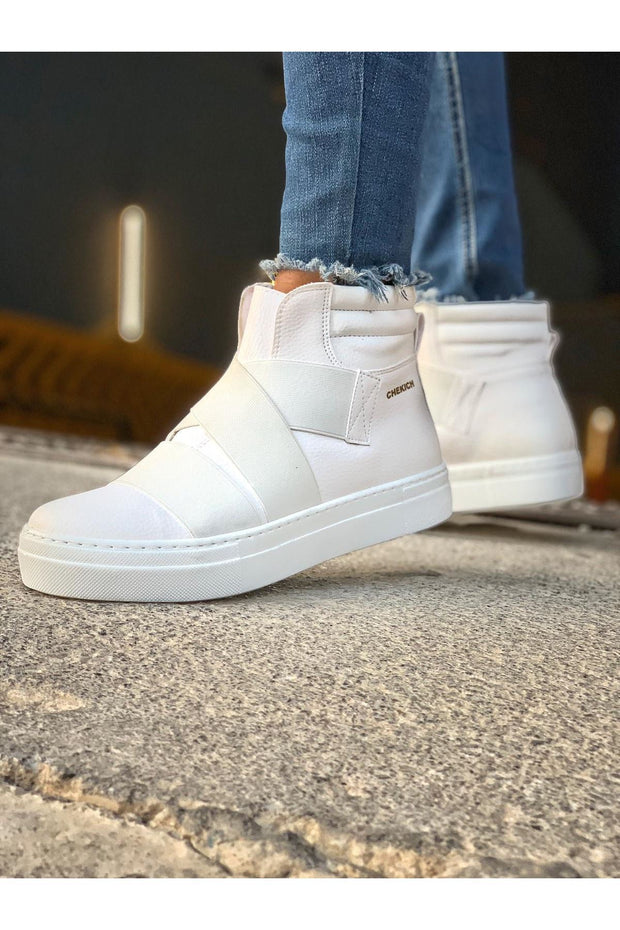 Men's Lace Up Design Sneaker Boots - White - MensFashionsWorld