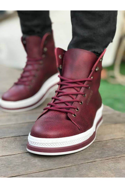 Men's High Sole Boots - Red - MensFashionsWorld