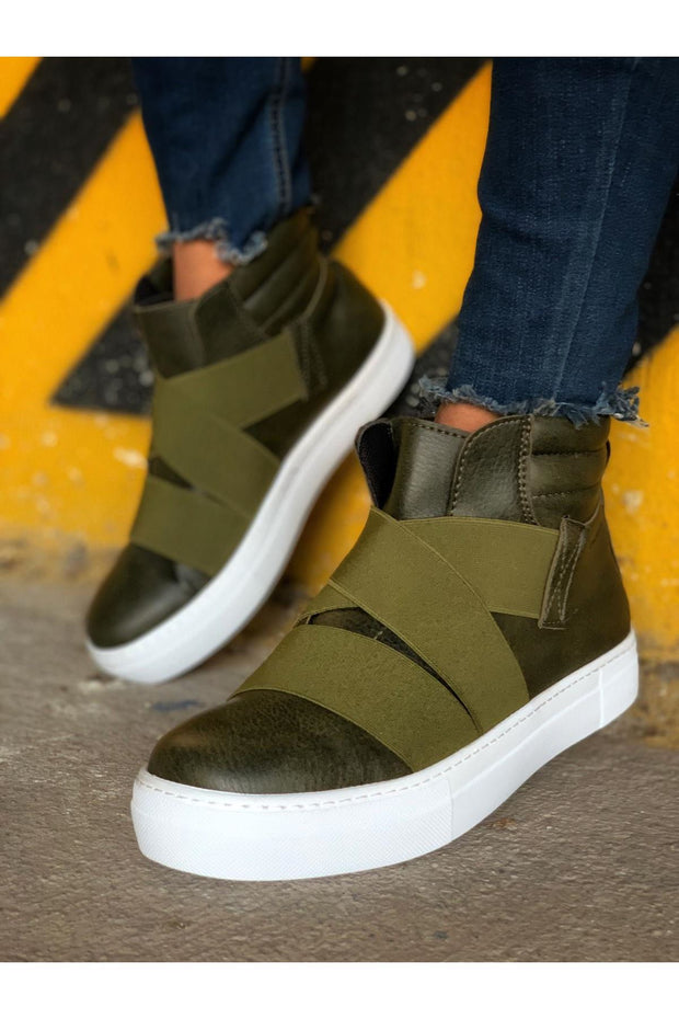 Men's Lace Up Design Sneaker Boots - Khaki - MensFashionsWorld