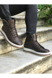 Men's High Sole Boots - Brown - MensFashionsWorld