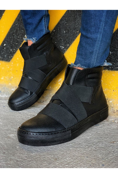 Men's Lace Up Design Sneaker Boots - Full Black - MensFashionsWorld