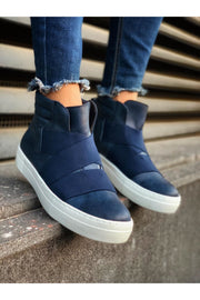 Men's Lace Up Design Sneaker Boots - Navy Blue - MensFashionsWorld