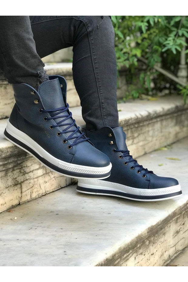 Men's High Sole Boots - Navy Blue - MensFashionsWorld