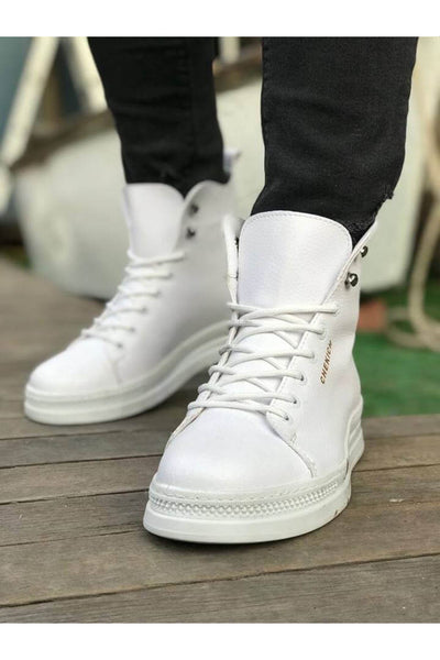 Men's High Sole Boots - White - MensFashionsWorld