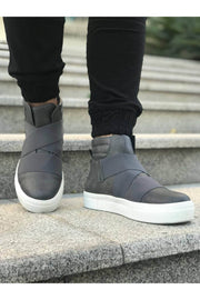 Men's Lace Up Design Sneaker Boots - Grey - MensFashionsWorld