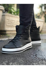 Men's High Sole Boots - Black - MensFashionsWorld