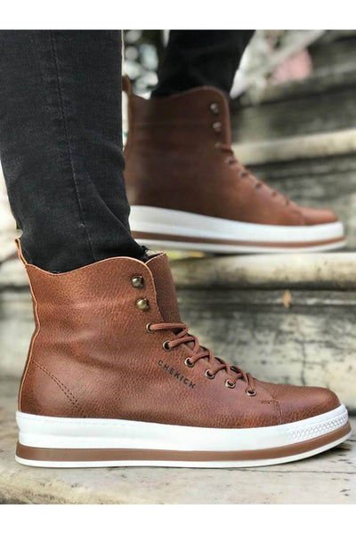 Men's High Sole Boots -Tan - MensFashionsWorld