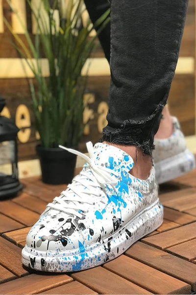 Special Edition Sneakers- Blue Spotted - MensFashionsWorld