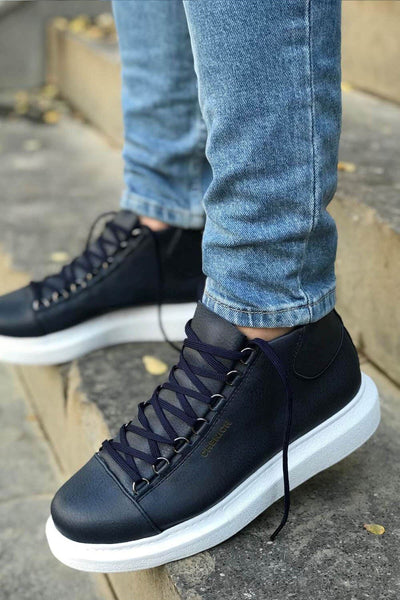 Lace-Up Summer Design Boots-Navy Blue - MensFashionsWorld
