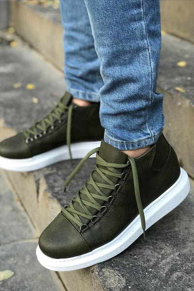 Lace-Up Summer Design Boots-Khaki - MensFashionsWorld