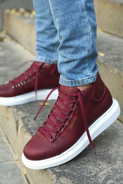 Lace-Up Summer Design Boots-Claret Red - MensFashionsWorld