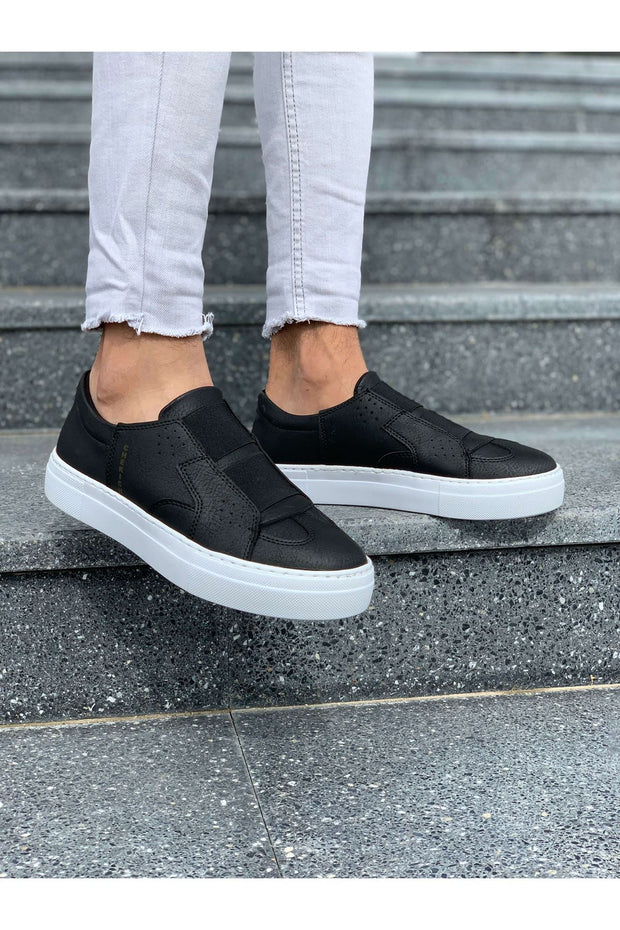 Mens' Casual Sneakers-Black & White - MensFashionsWorld