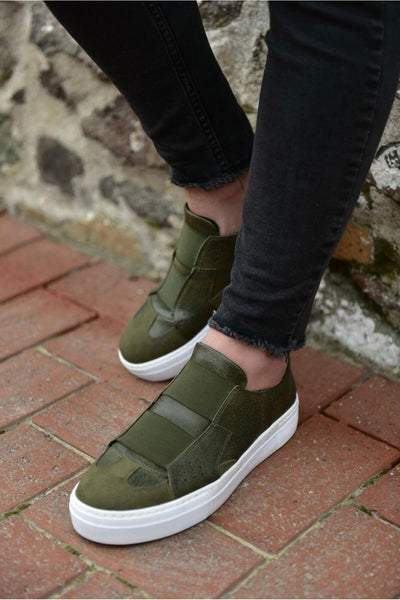 Mens' Casual Sneakers-Khaki - MensFashionsWorld