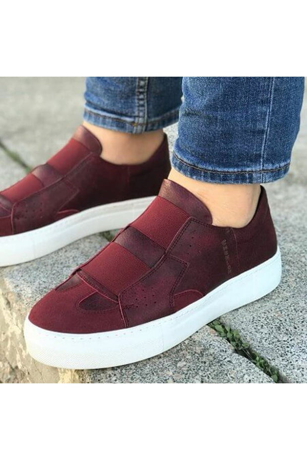 Mens' Casual Sneakers-Claret Red - MensFashionsWorld
