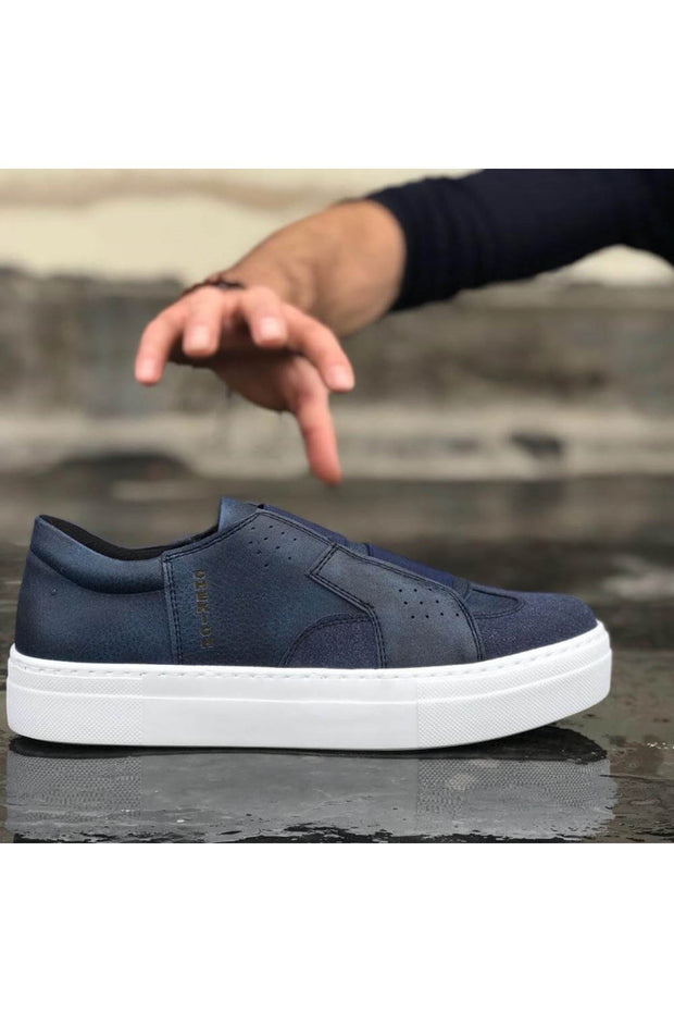 Mens' Casual Sneakers-Navy Blue - MensFashionsWorld