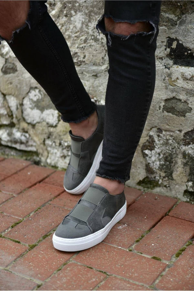 Mens' Casual Sneakers-Grey - MensFashionsWorld