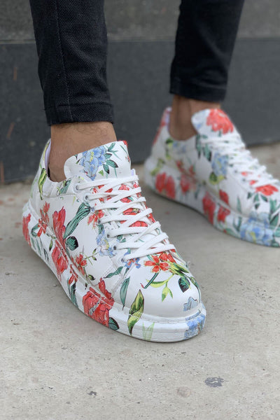 Special Edition Sneakers- Flowers Print - MensFashionsWorld