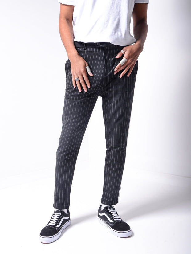 Striped Ankle Pants - Black - MensFashionsWorld