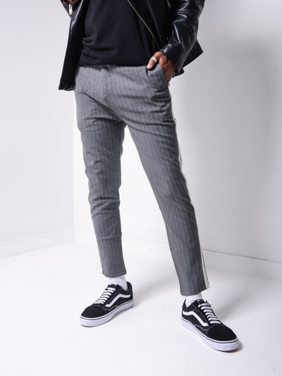 Striped Ankle Pants - Grey - MensFashionsWorld