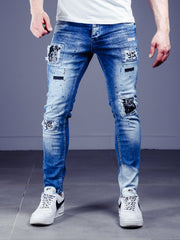 Bleach Wash Jeans Stonewashed - Blue
