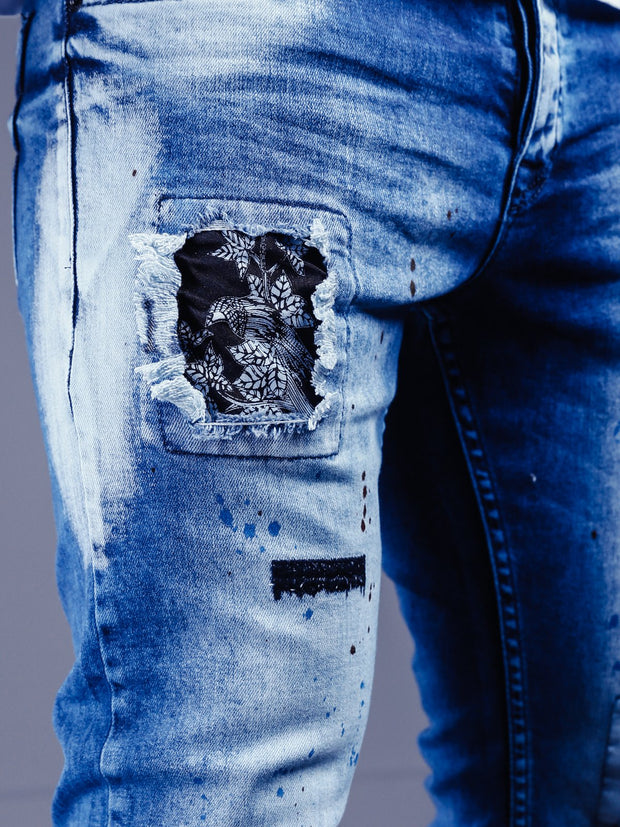 Bleach Wash Jeans Stonewashed - Blue - MensFashionsWorld