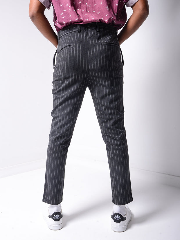 Striped Ankle Pants - Dark Grey - MensFashionsWorld