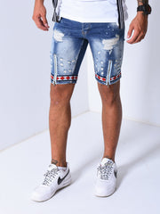 Jean Shorts Bleach Wash - Blue - MensFashionsWorld