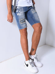 Ripped & Repaired Denim Shorts - Blue - MensFashionsWorld