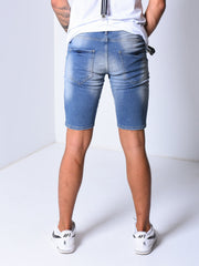 Ripped & Repaired Denim Shorts - Blue