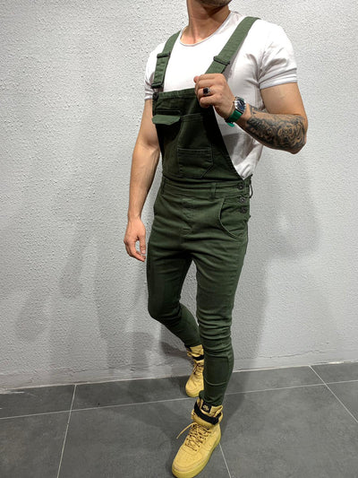 Distressed Denim Bib Overall - Khaki