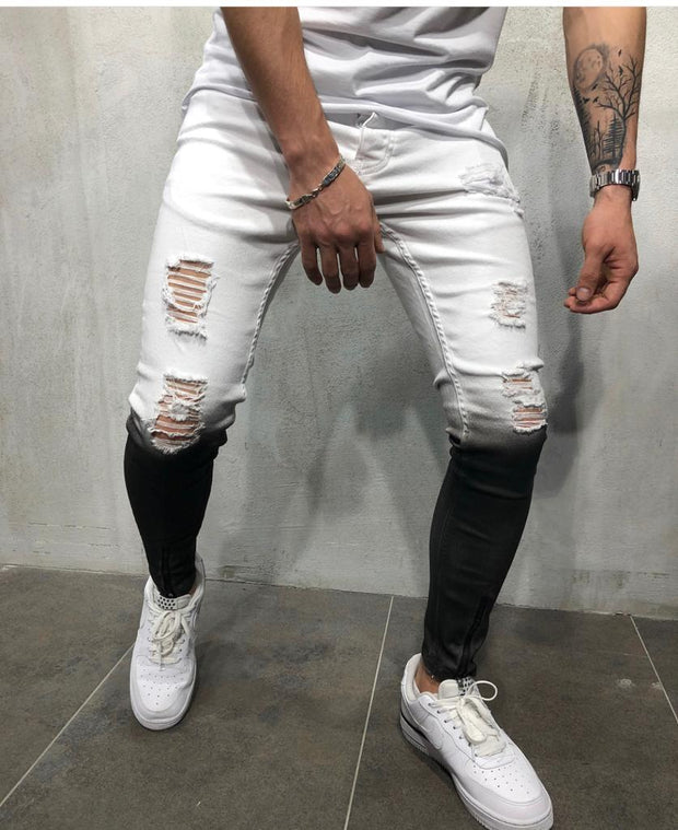 Black & White Jeans Ripped