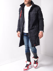 Washed Denim Coat - Black