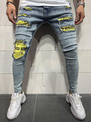 Ripped Jeans Biohazard Patches - Blue - MensFashionsWorld