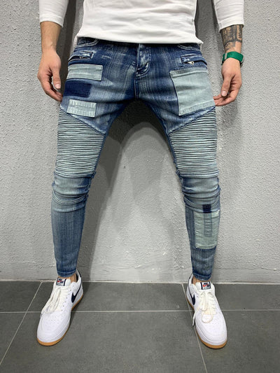 Washed Rider Jeans - Blue - MensFashionsWorld