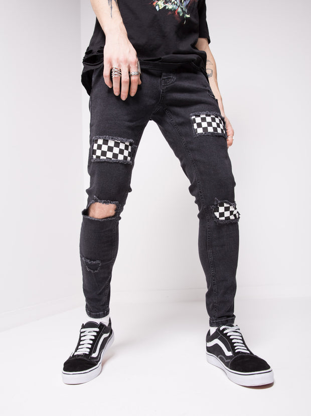 Chequered Jeans - Black