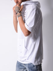 Hooded and Ripped White T-shirt with a Cangaroo Pocket - MensFashionsWorld