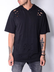Hooded Ripped T-shirt Cangaroo Pocket - MensFashionsWorld