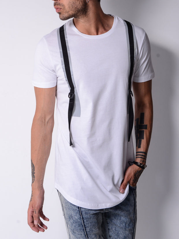 Back and Forth Strap Detail White T-shirt - MensFashionsWorld