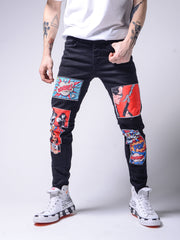 Comic Books Jeans - Black - MensFashionsWorld